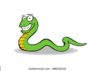 Simple freehand drawing of a smiling, crawling snake. Hand drawn colorful illustration of cool looking, green and yellow reptile with a long and curvy body. Scaly serpent, long tail and big smile.