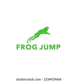 simple frog jump vector logo,amphibian design illustration