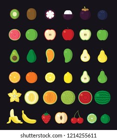Simple fruit icon set in flat style