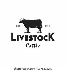 simple fun black color vintage cattle logo template