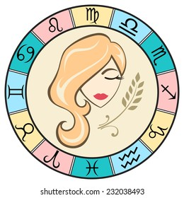 Simple and fun colored Virgo zodiac sign in the frame. Vector Illustration