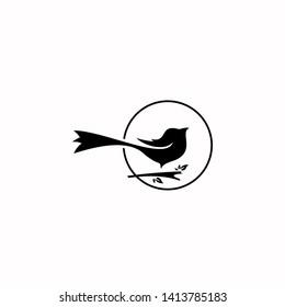 simple fun modern circle illustration black magpie bird logo design