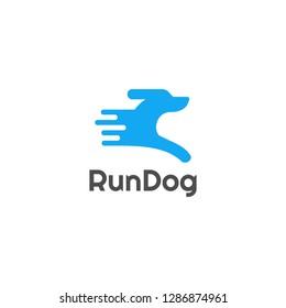 simple fun running dog logo / run dog / pet run