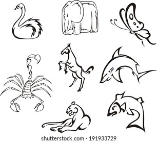 Simple funny animals. Set of black and white vector images.