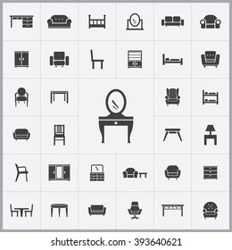 Simple furniture icons set. Universal furniture icons to use for web and mobile UI, set of basic UI furniture elements