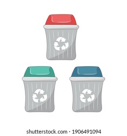 Simple Garbage container, colored Line art vector illustration