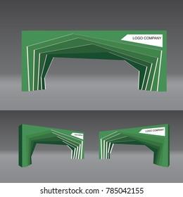 simple gate entrance modern style green color vector editable.