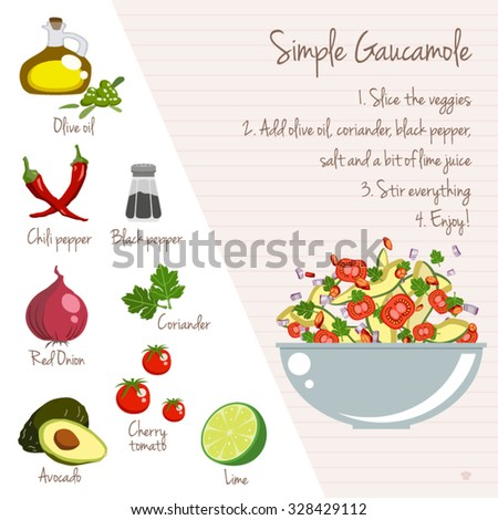 simple gaucamole recipe layout food icons stock vector royalty free