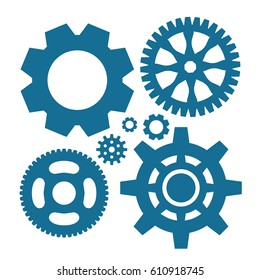 Simple Gear Or Cog Wheel Vector Icon. Machine, Technology, Equipment, Engine, Mechanism Sign. Idea, Settings, Development Progress Symbol Isolated