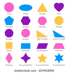 Simple geometric 2d shapes. School geometry vector diagram. Illustration of geometric shape simple element, ellipse and circle, triangle and heart
