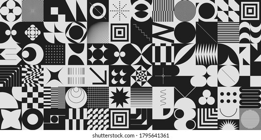 Simple geometric abstract vector pattern with simple shapes and monochrome colors. Geometric graphics composition, best use in web design, business card, invitation, poster, textile print, background.