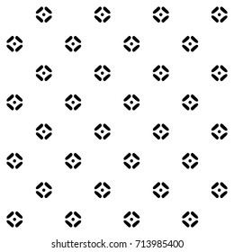 Simple geometric allover dot design. Decorative printing block. Black and white seamless ornament. Abstract graphic shapes. Vector illustration. Interior textile, fabric cloth, wallpaper.