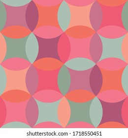 Simple geometric circles seamless pattern for background, fabric, textile, wrap, surface, web and print design. Pink and green hues geometry repeatable motif.