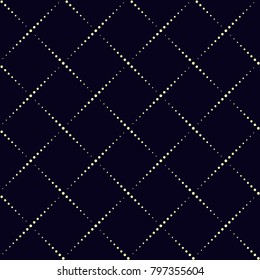 Simple geometric design. Dot line vector ornament on a indigo background. Traditional oriental all over print for textile fabric, wallpaper, phone case. Vintage printing block. Vector illustration.
