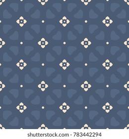 Simple geometric folk floral heart pattern. Navy blue decorative print block. Mini medallion ornament. Interior textile, wallpaper, doily lace paper, fabric cloth all over design. Vector illustration.
