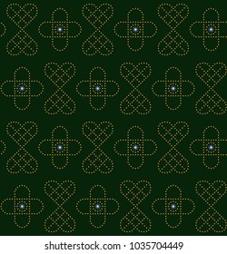 Simple geometric knotwork pattern. Ancient style flowers all over design. Decorative ornament for textile, paper, wrapping cloth, fabric, book cover. Floral lace printing block.