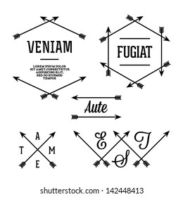 simple geometric label with arrows