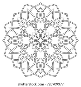 Simple geometric mandala. Oriental ornament. Design element. Template for stained-glass window.