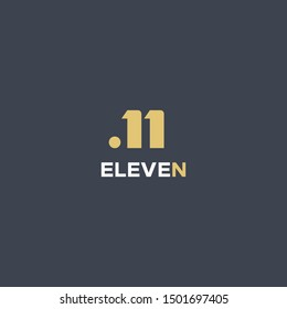 simple geometric N letter with eleven number idea concept logo design icon illustration inspiration. simple symbol with vector eps10. unique and modern style logotype or monogram word mark