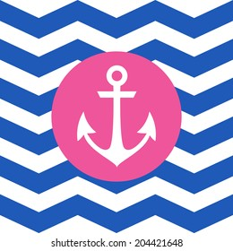 Simple geometric nautical card with anchor on zigzag background for invitation