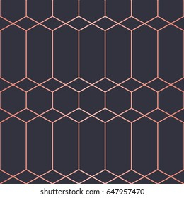 Simple geometric pattern. Seamless  Vector Lines. Trendy Copper Look.