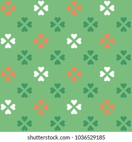 Simple geometric pattern. Tricoloured flag decorative print for scrap paper, fabric textile, flyers, banners. Heart flower all over design. Vector illustration.