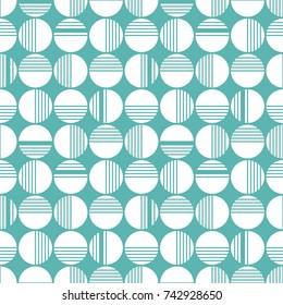 A simple geometric pattern. White circles and stripes on a blue background. Ideal for printing on fabric, paper and wallpaper.