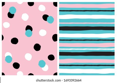 Simple Geometric Seamless Vector Pattern with White, Black Pink Background. Cute Striped Print. White, Pink and Black Horizontal Lines on a Blue Layout.