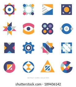 Simple geometric shapes collection. Vector icons set. Logo template.