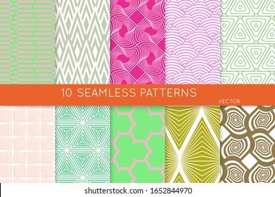 Simple geometric texture. Collection of seamless geometric minimalistic patterns. Backgrounds and wallpapers. Textile ornament. Properly grouped and layered drag and drop to the swatch pallet.