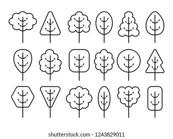 Simple geometric trees symbols. Line icon set of forest plants. Natural park signs. Isolated object on white background