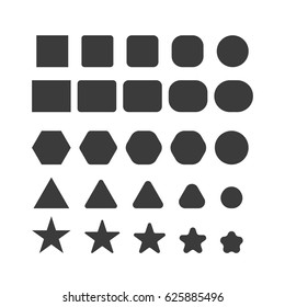 simple geometrical shapes with sharp and round corners set star circle triangle square rectangular