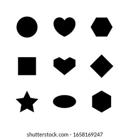 simple geometry shape with circle, heart, oval, ellipse, star, square and diamond trapezoid shape isolated on white, simple bullet sign, black simple flat shape for decoration, icon 2d black geometry