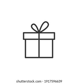 Simple gift line icon. Stroke pictogram. Vector illustration isolated on a white background.