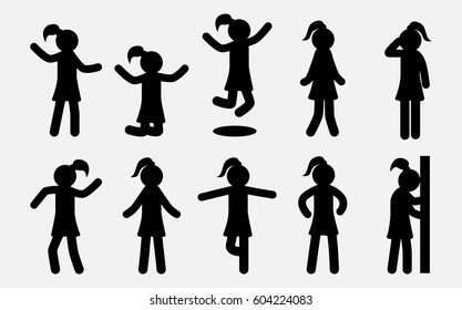 Simple Girl silhouettes set. Woman in different poses and actions. Female Female Icons.