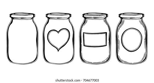 Simple glass jar illustration set with different form labels. Hand drawn contour sketch in black isolated over white.