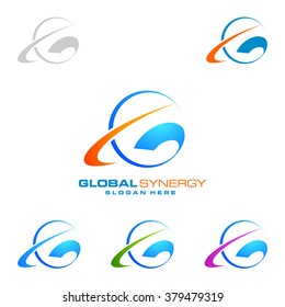 Simple global logo with ring sphere vector logo design