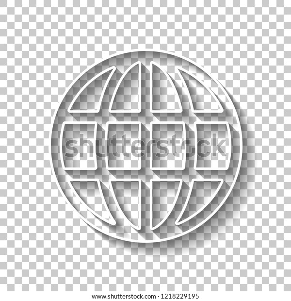 Simple Globe Icon Linear White Outline Stock Vector (Royalty