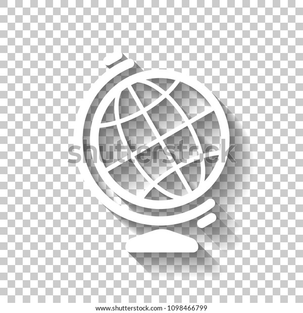 Simple Globe Symbol Linear Icon White Stock Vector (Royalty