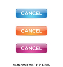 Simple Glossy Cancel Buttons Vector