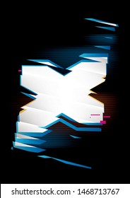 Simple glowing shape with refraction effect on a black background. Place for text or image. Dynamic abstract vector composition