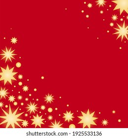 Simple glowing vector stars. Star pattern on a red background. Color illustration.