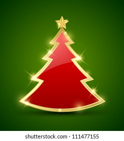 Simple golden and glossy Christmas tree isolated on background