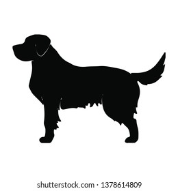 simple golden retriever silhouette black and white vector