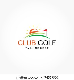 simple golf club logo vector with sunrise, field, and a standing flag
