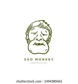 Simple Gorilla Face Outline Illustration Logo Design