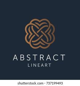 Simple and graceful abstract Line art design template, Elegant ornate logo design, vector illustration