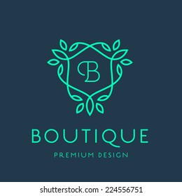 Simple and graceful floral monogram design template, Elegant lineart logo design, vector illustration