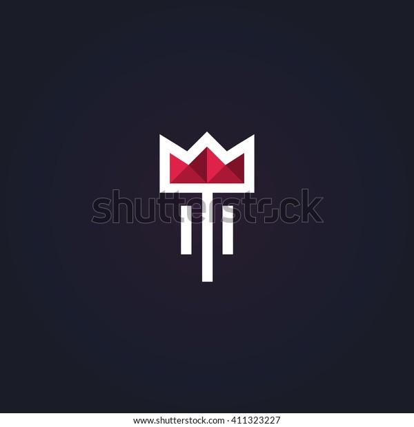 Simple and graceful floral monogram design template, Elegant logo, vector illustration