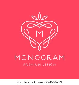 Simple and graceful monogram design template, Elegant lineart logo design, vector illustration